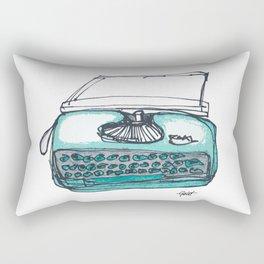 """""""Type"""" Hand Drawn Typewriter Teal Rectangular Pillow"""