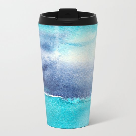 Vibrant horizon || watercolor Metal Travel Mug