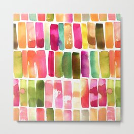 Watercolor Stripes Metal Print