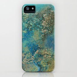 Philip Bowman Blue And Gold Modern Abstract Art Painting iPhone Case