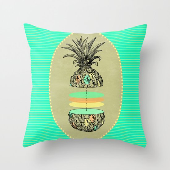 Sliced pineapple Throw Pillow