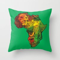 africa Throw Pillows featuring Africa by RicoMambo