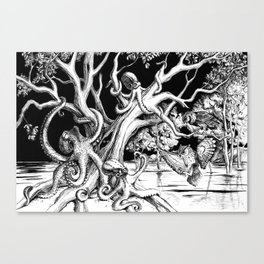 Owl's old oak is occupied by octopuses Canvas Print