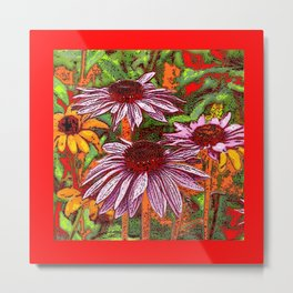 COLORFUL ECHINACEA IN INK RED FLORAL GARDEN Metal Print