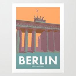 Berlin Vintage Travel Poster Style Brandenburger Tor Art Print
