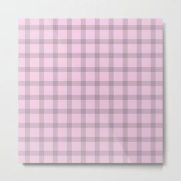 Black Grid On Pale Pink Metal Print