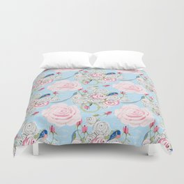 Bluebirds and Watercolor roses on pale blue with white French script Duvet Cover