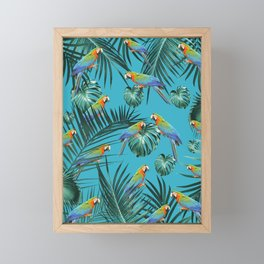 Parrots in the Tropical Jungle #2 #tropical #decor #art #society6 Framed Mini Art Print