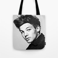 louis tomlinson Tote Bags featuring Louis Tomlinson by D77 The DigArtisT