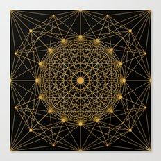 Geometric Circle Black and Gold Canvas Print