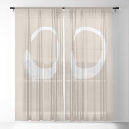 Minimalist Japandi Neutral Beige And White Zen Circle Sheer Curtain