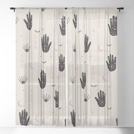 Trust the universe magic hand third eye moon and stars pastel sand pink Sheer Curtain
