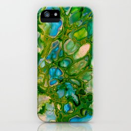 GreenTurquoise Blue Cells Stone Marble Abstract Painting iPhone Case