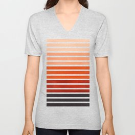 Watercolor Gouache Mid Century Modern Minimalist Colorful Burnt Sienna Stripes Unisex V-Neck