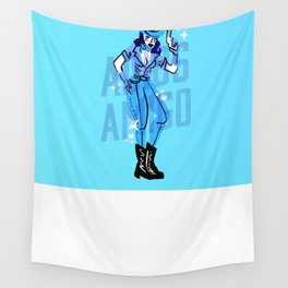 Cowgirl vs Alien Wall Tapestry