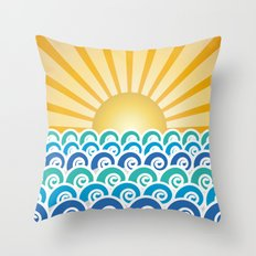 Along the Waves Blue Throw Pillow