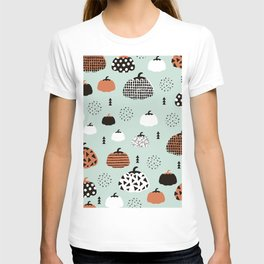 Inky Texture Pumpkins halloween illustration pattern design mint orange T-shirt