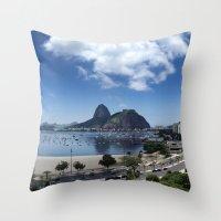 rio de janeiro Throw Pillows featuring Lovely Rio de Janeiro by Michel Lent