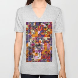 psychedelic geometric square pattern painting abstract background in orange blue pink red Unisex V-Neck