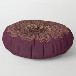 Gold Mandala on Royal Red Background Floor Pillow