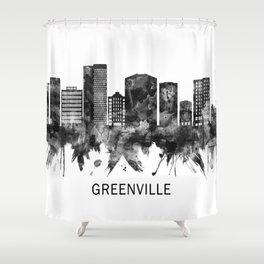 Greenville South Carolina Skyline BW Shower Curtain