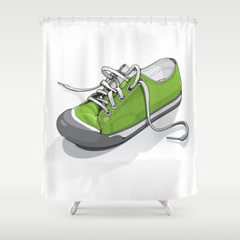 A Green Shoe Shower Curtain
