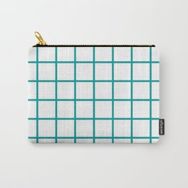 GRID DESIGN (TEAL-WHITE) Carry-All Pouch