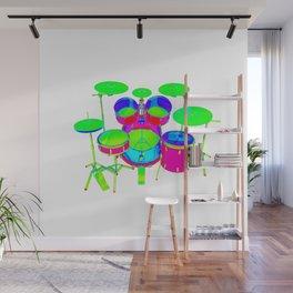 Colorful Drum Kit Wall Mural