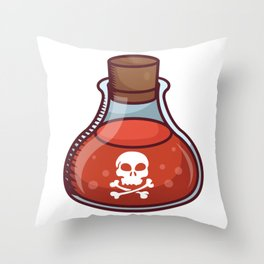 A Glass Bottle With Halloween Danger Sign on It. Throw Pillow