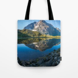 Mountain Reflection in the Bay at Milford Sound Tote Bag