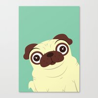 pug Canvas Prints featuring Pug by Hoborobo