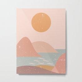 Minimalist Minimal Mountain Landscapes Colour Block Ancient Ruins Sunset Pastel Colours Metal Print