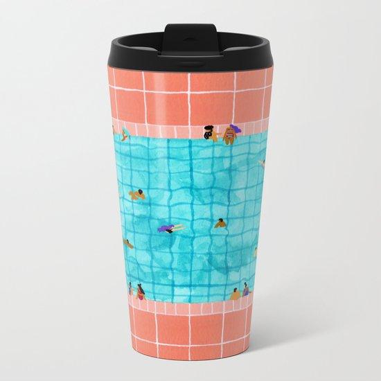 Coral Pool Metal Travel Mug