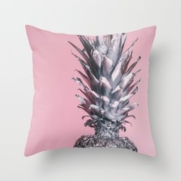 Pink And Silver Pineapple Throw Pillow