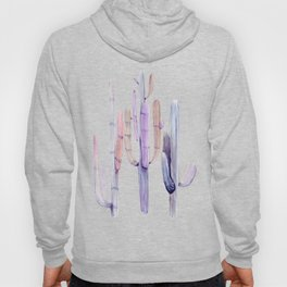 Minimalist Cactus Drawing Watercolor Painting Purple Hoody