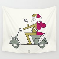 hug Wall Tapestries featuring Lovers hug by Ale Giorgini