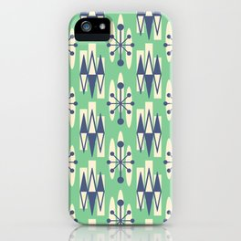 Retro Mid Century Modern Atomic Triangles 725 Blue and Green iPhone Case