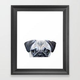 pug Dog illustration original painting print Framed Art Print