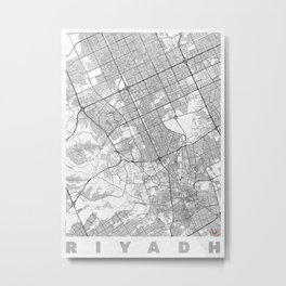 Riyadh Map Line Metal Print