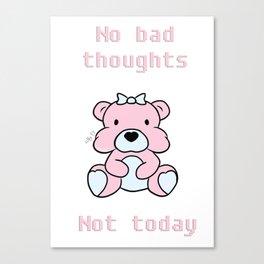 No bad thoughts bear Canvas Print
