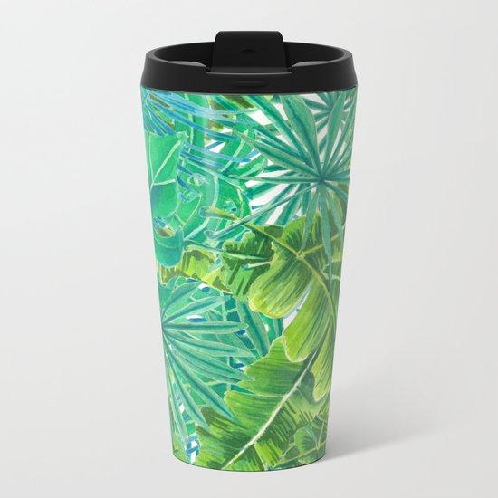 Tropcal leaves watercolor Metal Travel Mug