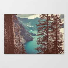 Vintage Blue Crater Lake and Trees Canvas Print