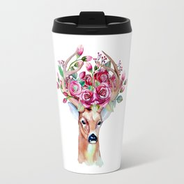 Shy watercolor floral deer Travel Mug
