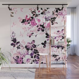 Modern blush pink black watercolor country floral Wall Mural