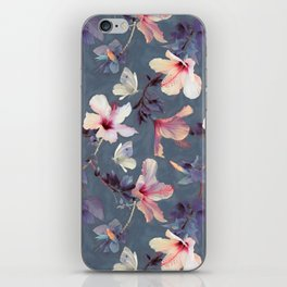 Butterflies and Hibiscus Flowers - a painted pattern iPhone Skin