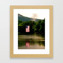 Flag on 4th of July Framed Art Print