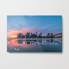 Skyline New York during sunset and a frozen Hudson River Metal Print
