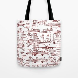 F-18 Blueprints // Red Ink Tote Bag