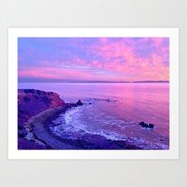 California Purple, Pink & Blue Dramatic Beach Sunset Art Print