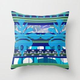 Blue green stripes pattern Throw Pillow